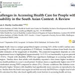 Health Care for People with disability in the South Asian Context