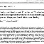 Knowledge, Attitudes and Practice of Testicular Self-examination among Male University Students from Bangladesh, Madagascar, Singapore, South Africa and Turkey