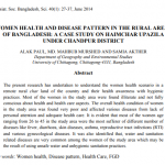 WOMEN HEALTH AND DISEASE PATTERN IN THE RURAL AREAS OF BANGLADESH: A CASE STUDY ON HAIMCHAR UPAZILA UNDER CHANDPUR DISTRICT