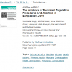The Incidence of Menstrual Regulation Procedures and Abortion in Bangladesh, 2010