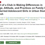 The Effect of a Club in Making Differences in Knowledge, Attitude, and Practices on Family Planning Among Married Adolescent Girls in Urban Slums in Bangladesh