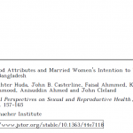 Contraceptive Method Attributes and Married Women's Intention to Use the Pill or the Injectable in Rural Bangladesh