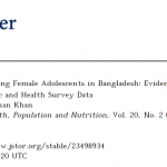 Knowledge on AIDS among Female Adolescents in Bangladesh: Evidence from the Bangladesh Demographic and Health Survey