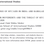 SCENARIO OF HIV/AIDS IN INDIA AND BANGLADESH