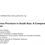 Abortion Service Provision in South Asia: A Comparative Study of Four Countries